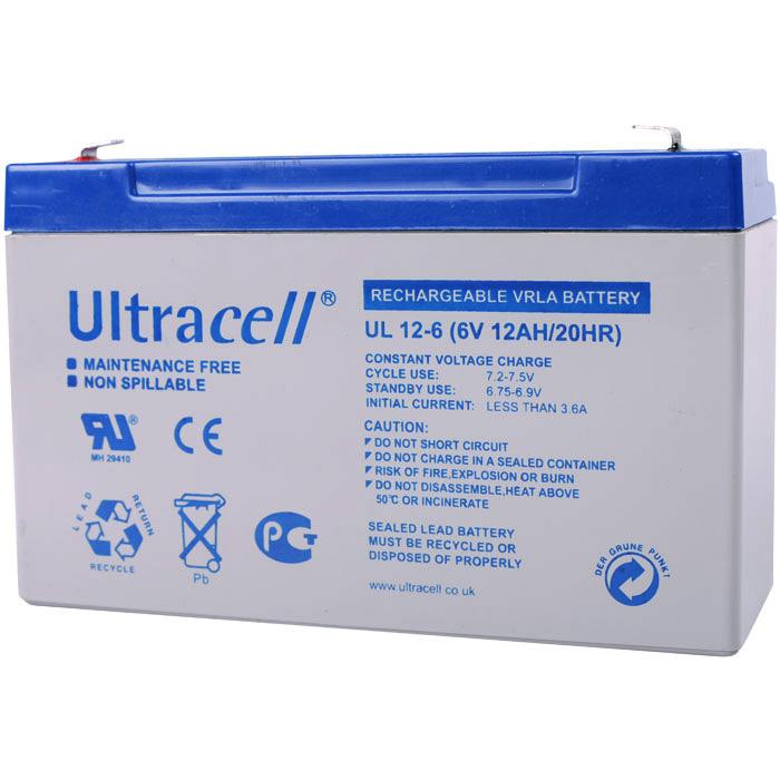 Ultracell UL12-6 Επαναφορτιζόμενη Μπαταρία Μολύβδου 6 Volt / 12 Ah