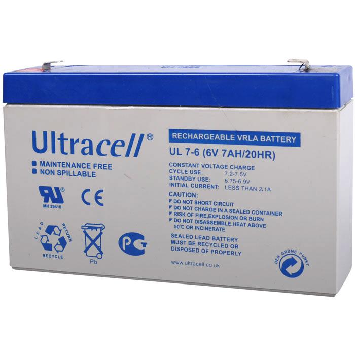 Ultracell UL7-6 Επαναφορτιζόμενη Μπαταρία Μολύβδου 6 Volt / 7 Ah
