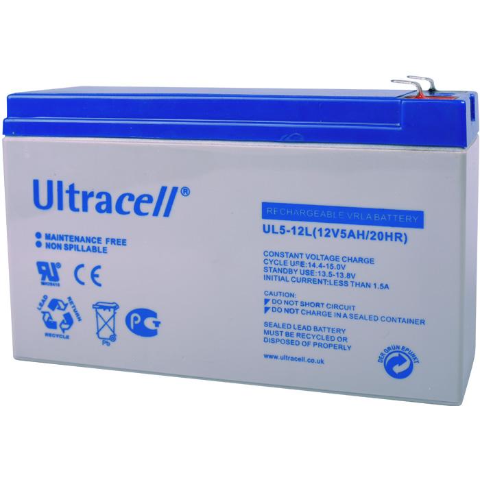 Ultracell UL5-12L (15x5x9.5) Επαναφορτιζόμενη Μπαταρία Μολύβδου 12 Volt / 5 Ah