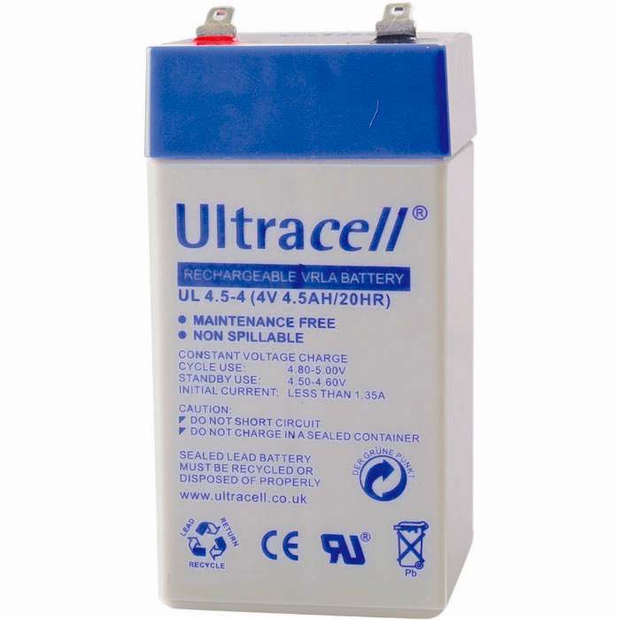 Ultracell UL4.5-4 Επαναφορτιζόμενη Μπαταρία Μολύβδου 4 Volt / 4,5 Ah