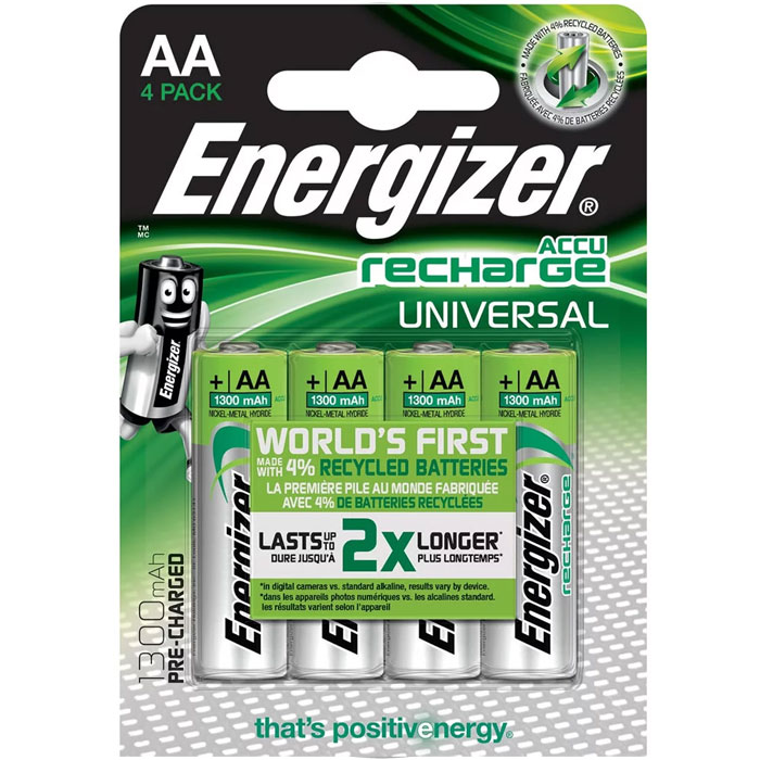 ENERGIZER AA-HR6/1300mAh/4TEM UNIVERSAL RECHARGEABLE F016556