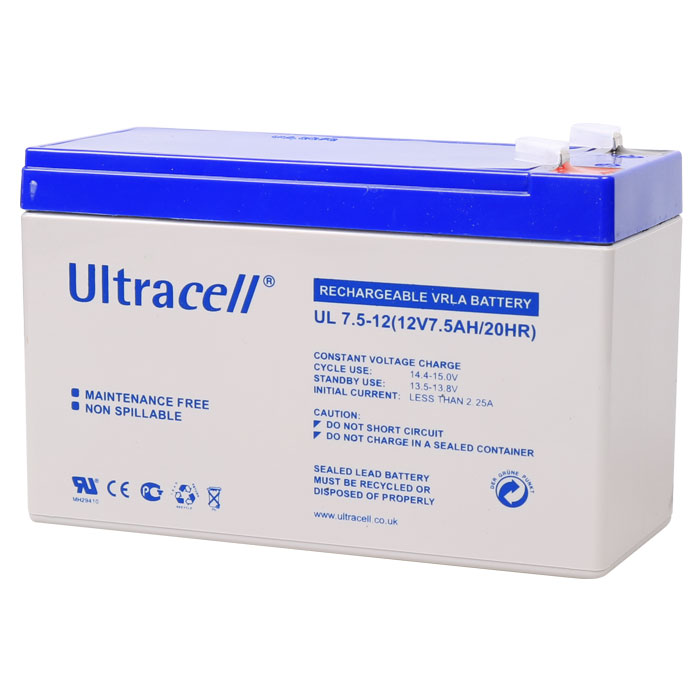 Ultracell UL7.5-12 Επαναφορτιζόμενη Μπαταρία Μολύβδου 12 Volt / 7,5 Ah