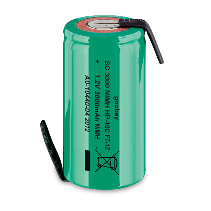 72808 Sub-C, 3000 mAh, Solder tail (Z), Nickel-metal hydride battery (NiMH), 1.2