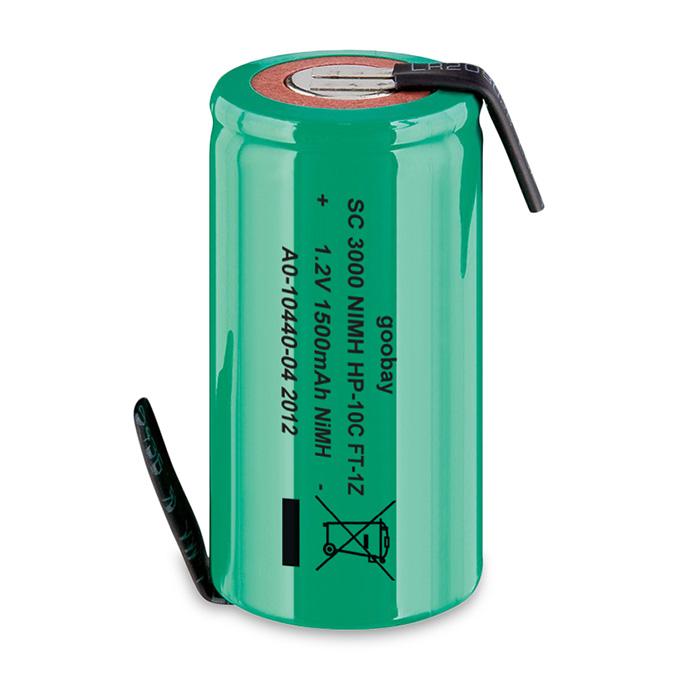72802 Sub-C, 1500 mAh, Solder tail (Z), Nickel-metal hydride battery (NiMH), 1.2