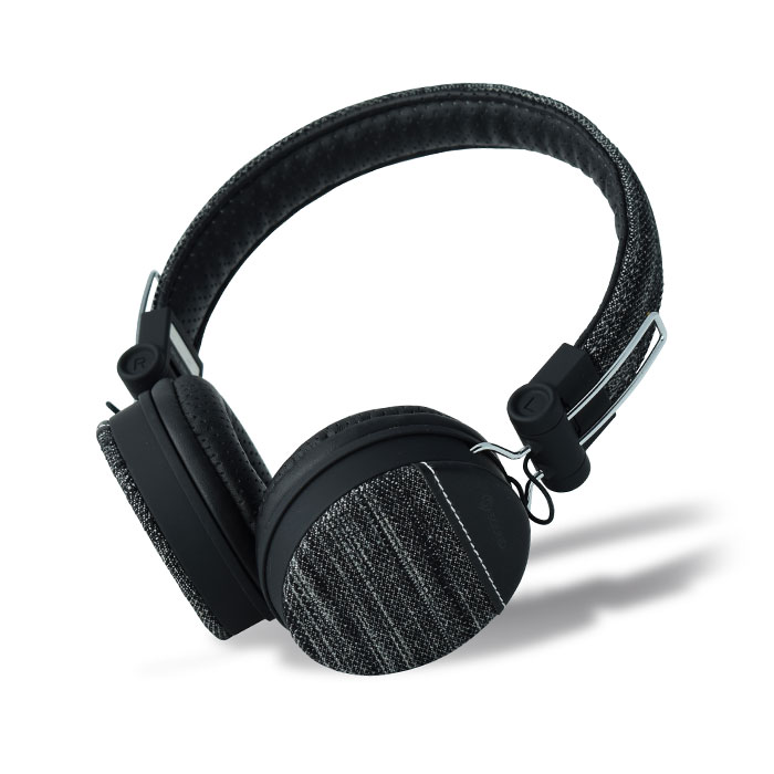 MELICONI MYSOUND SPEAK DENIM BLACK ON-EAR STEREO HEADPHONE WITH MICROPHONE