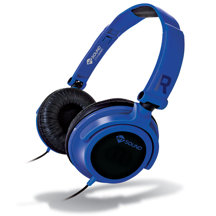 MELICONI MYSOUND SPEAK SMART FLUO BLUE-BLACK ON-EAR STEREO HEADSET WITH MICROPHΟΝΕ