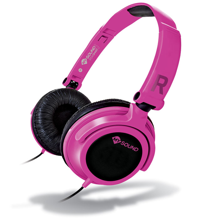 MELICONI MYSOUND SPEAK SMART FLUO FUCSIA-BLACK ON-EAR STEREO HEADSET WITH MICROPHONE