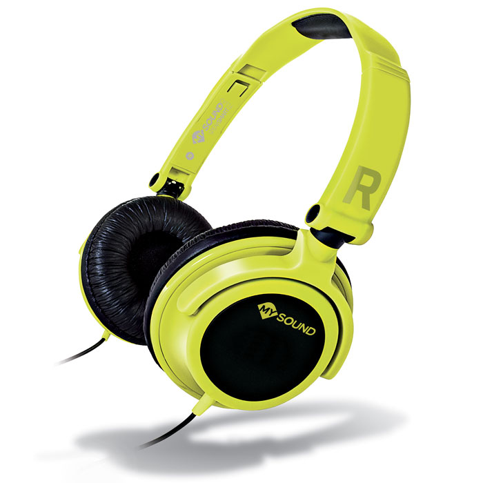 MELICONI MYSOUND SPEAK SMART FLUO YELLOW-BLACK ON-EAR STEREO HEADSET WITH MICROPHONE