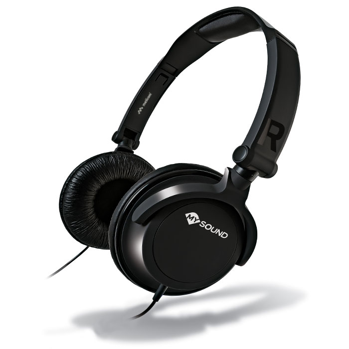 MELICONI MYSOUND SPEAK SMART FLUO BLACK ON-EAR STEREO HEADSET (WITH MICROPHONE)