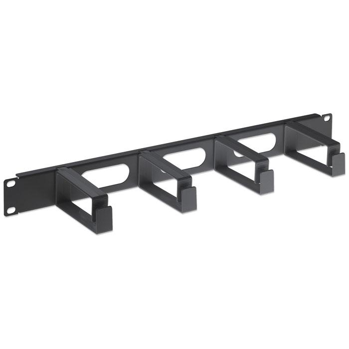 INT 711074 19 1U CABLE MANAGEMENT PANEL, 4 LONG PLASTIC RINGS BLACK