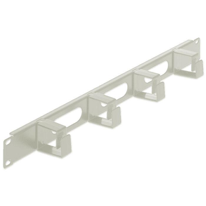INT 711043 19 1U CABLE MANAGEMENT PANEL, 4 SHORT PLASTIC RINGS GREY