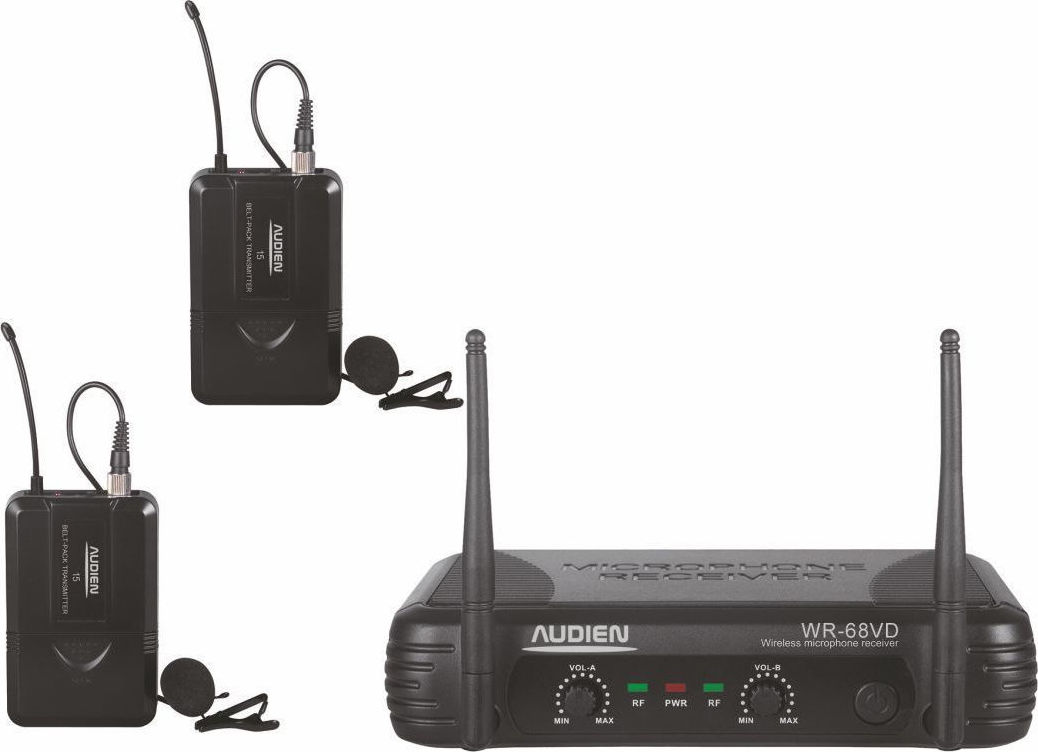Audien WR-68VD-D Σετ 2 Ασύρματων VHF Μικροφώνων Πέτου