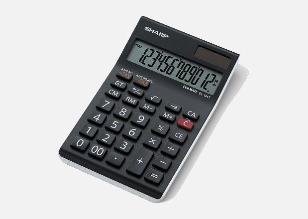 SHARP EL-124T-WH ELECTRONIC CALCULATOR (TAX)