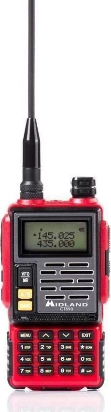 Midland CT-690 Φορητός Πομποδέκτης Dual Band VHF/UHF ισχύος 6 Watt (Κόκκινο)