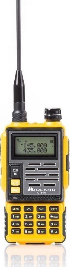 Midland CT-690 Φορητός Πομποδέκτης Dual Band VHF/UHF ισχύος 6 Watt (Κίτρινο)
