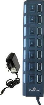 Powertech, PT-111, 7 ports USB HUB-Μετασχηματιστής ρεύματος