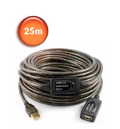 Powetech Καλώδιο προέκτασης USB με ενσωματωμένο ενισχυτή 25m - Aρσενικό σε θηλυκό