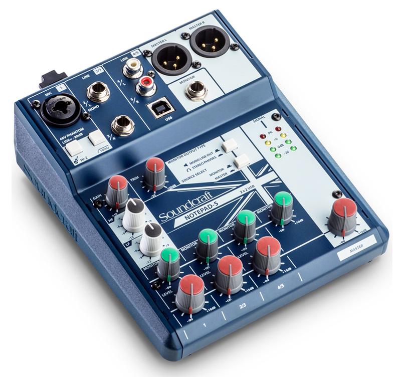 Soundcraft NOTEPAD-5 Κονσόλα μίξης 1 monoline,2 stereo line,Usb