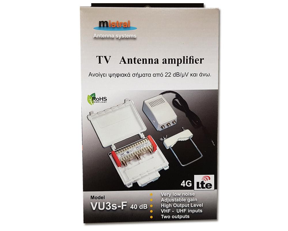 Mistral VU3S-F40 LTE Ενισχυτής κεραίας VHF- UHF Θωρακισμένος 40dB