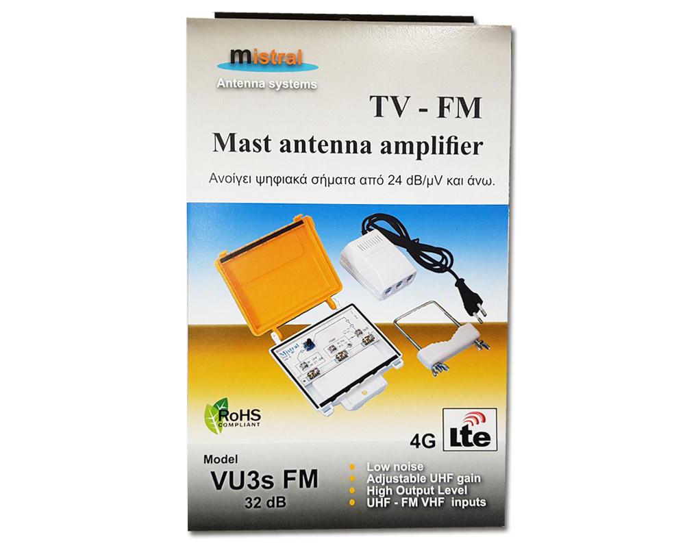 Mistral VU3s-FM 0214 Ενισχυτής Κεραίας VHF-UHF & FM, 32dB