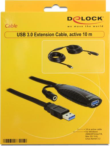 Delock 83415 Καλώδιο επέκτασης USB 3.0  Ενεργό 10 m