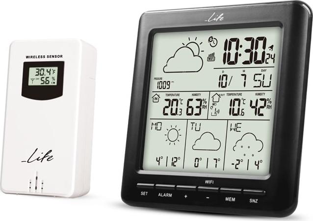 LIFE WES-400 Μετεωρολογικός σταθμός Wi-Fi Με Ασύρματη Εξωτερική μονάδα μέτρησης  Μέτρησης Θερμοκρασίας & Υγρασίας