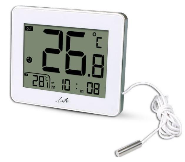 LIFE WES-202 Ψηφιακό Θερμόμετρο Εσωτερικής και Εξωτερικής Θερμοκρασίας με Ενσύρματο Αισθητήρα