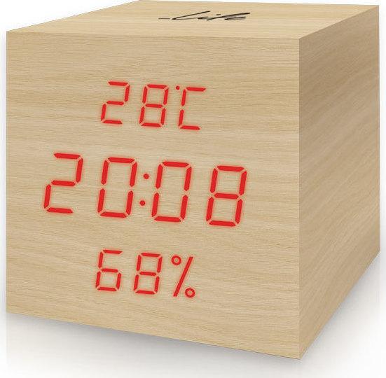 Life WES-105 Ξύλινο Ψηφιακό Θερμόμετρο / Υγρόμετρο Εσωτερικού Χώρου με Ρολόι, Ξυπνητήρι & Ημερολόγιο