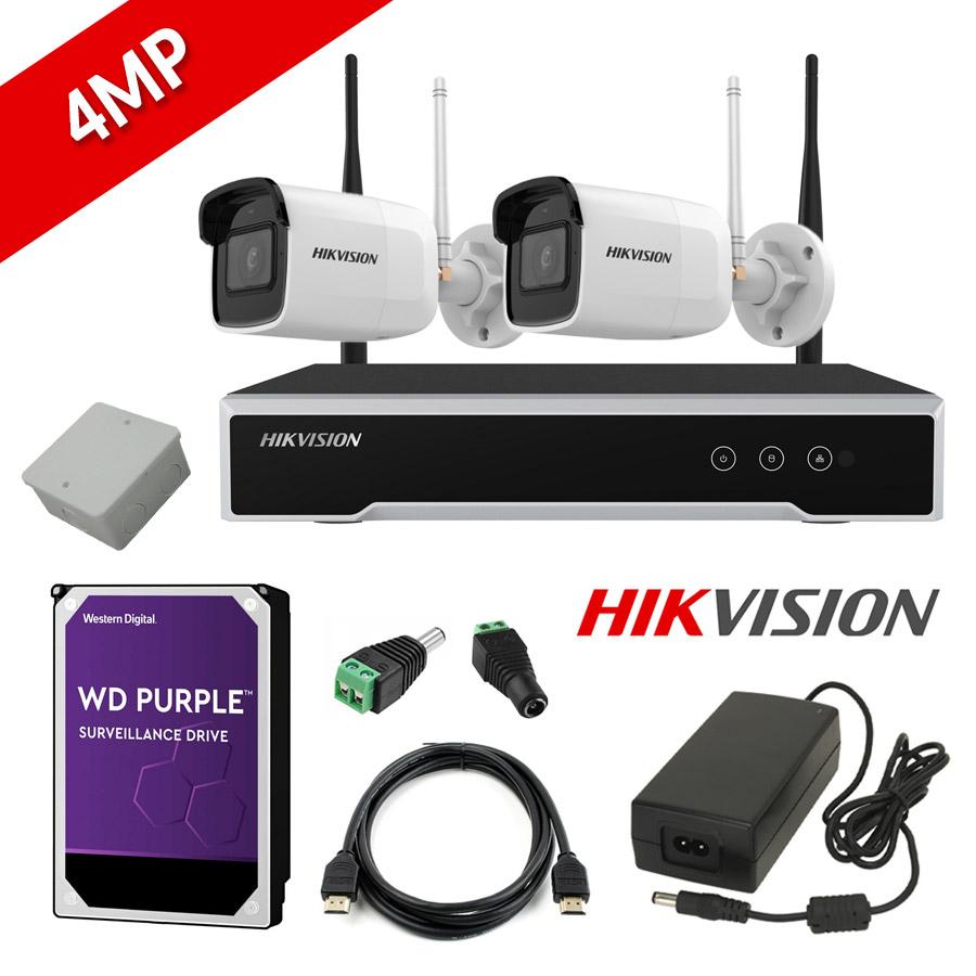 HIKVISION DS-7104NI-K1/W/M Σετ Δικτυακού Καταγραφικού WiFi 4 Καναλιών & 2 Καμερών Wifi εξωτερικού Χώρου 4MP