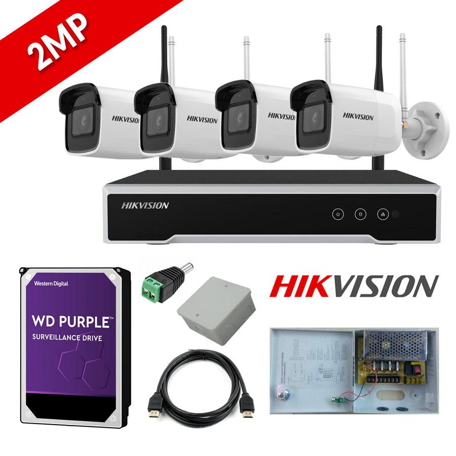 HIKVISION DS-7104NI-K1/W/M Σετ Δικτυακού Καταγραφικού WiFi & 4 Κάμερες Wifi εξωτερικού Χώρου 2MP