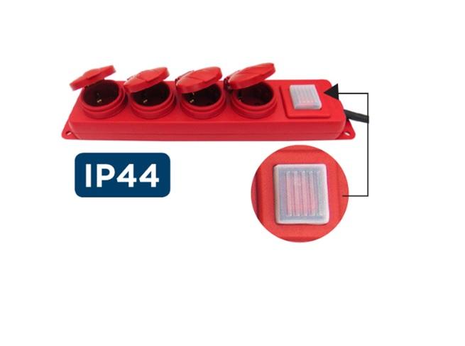 G04MPK Πολύπριζο Βιομηχανικό με Διακόπτη 3X1.5 1.5m Κόκκινο IP44