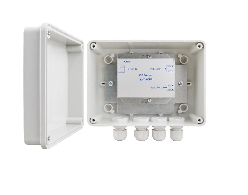 PULSAR EXT-POE2H Ethernet PoE Repeater αύξηση εμβέλειας Ethernet 100m