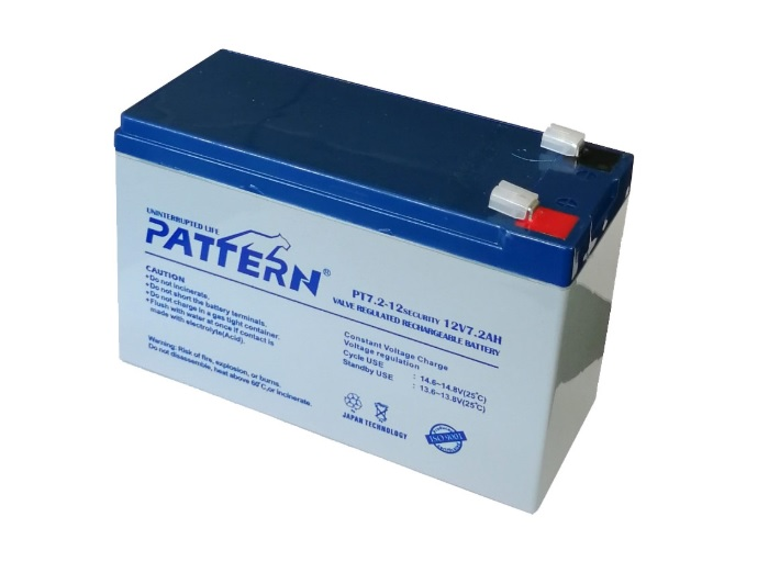 PATTERN PT7.2-12  Επαναφορτιζόμενη Μπαταρία Μολύβδου 12 Volt / 7.2 Ah Japan Technology