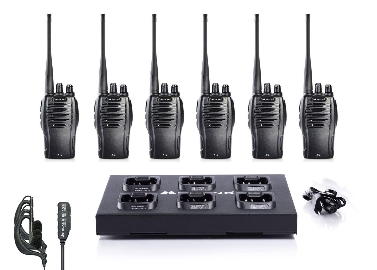 Midland G10 Multipack Σετ 6 τεμαχίων με ακουστικά & φορτιστή 6 θέσεων