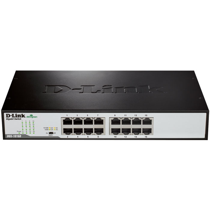 D-LINK DGS-1016D GIGABIT ETHERNET 16-PORT SWITCH (RACKMOUNT)