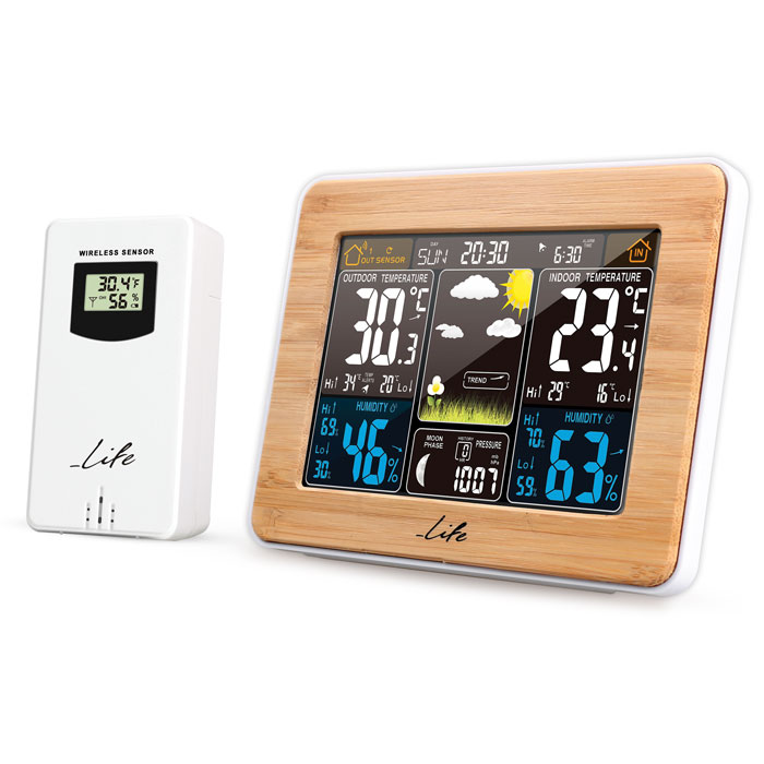 LIFE Rainforest Bamboo Edition Weather station with adaptor & wireless outdoor