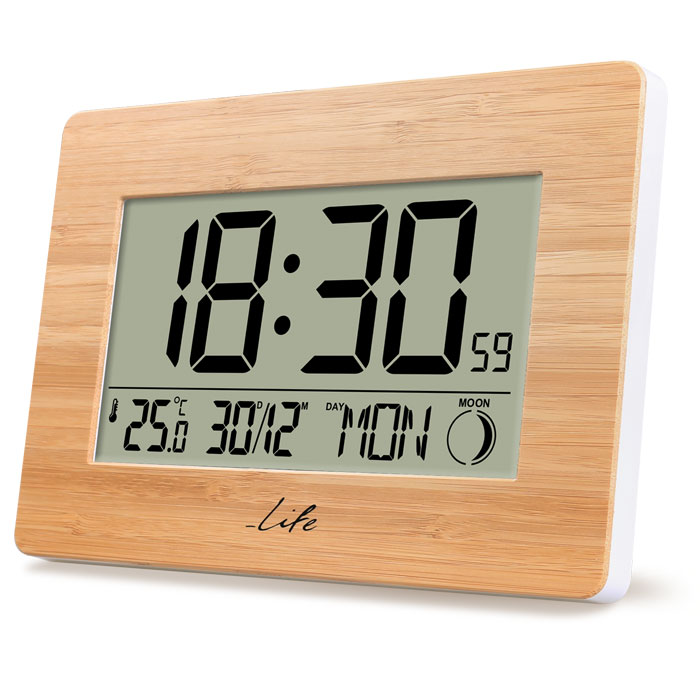 LIFE Bamboo Clock XL Alarm Clock with indoor thermometer