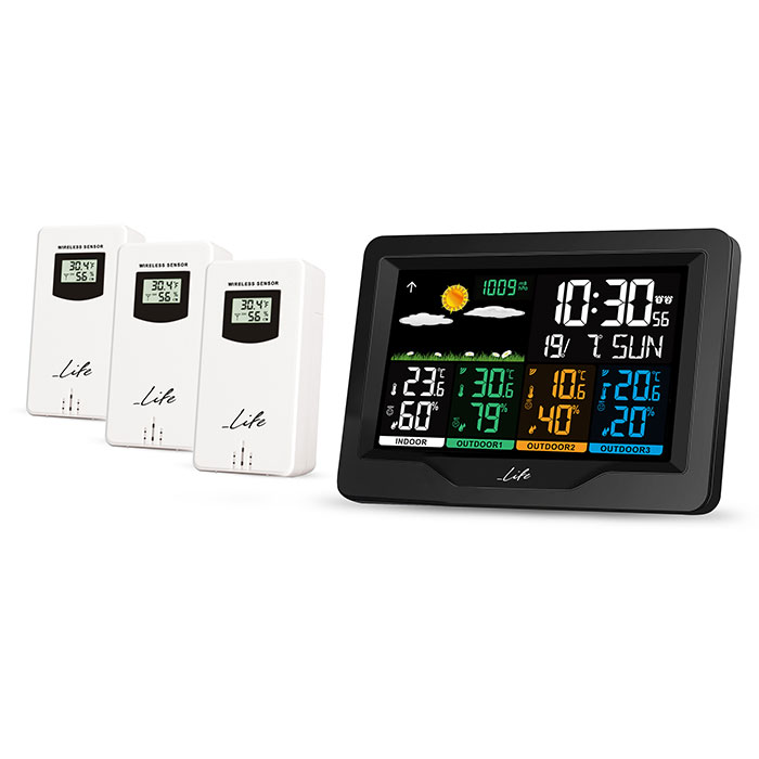 LIFE CONTINENTAL QUAD DISPLAY WEATHER STATION WITH 3 OUTDOOR SENSORS