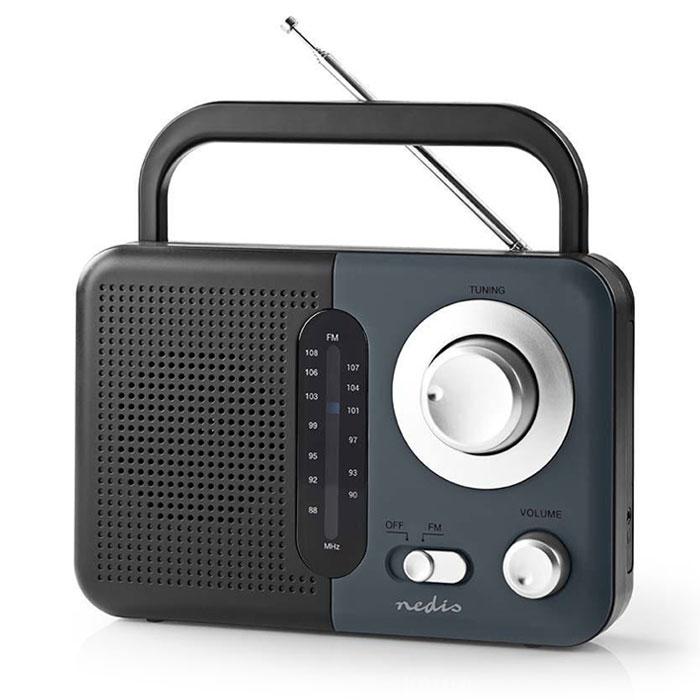 NEDIS RDFM1300GY FM Radio, 2.4 W, Carying Handle, Black / Grey