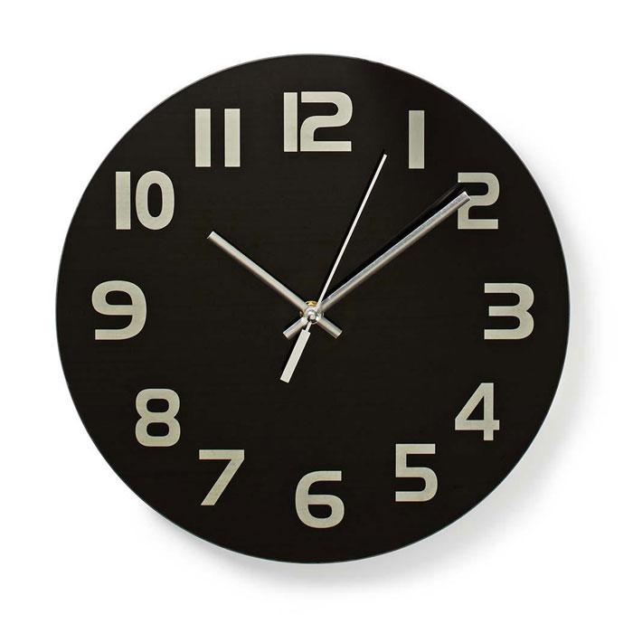 NEDIS CLWA006GL30BK Circular Wall Clock, 30 cm Diameter, Easy To Read Numbers Black