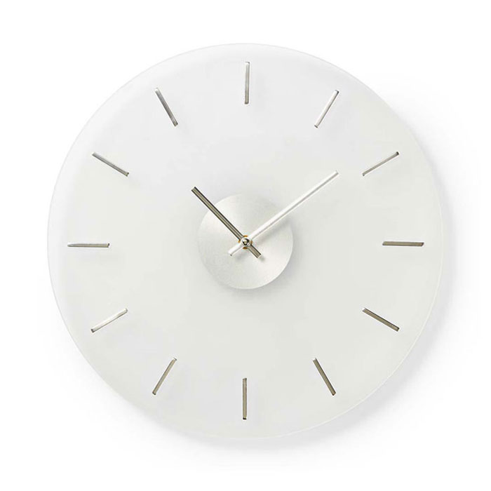 NEDIS CLWA005GL30 Circular Wall Clock, 30 cm Diameter, Elegant, Glass