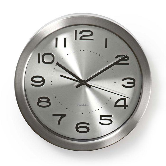 NEDIS CLWA010MT30SR Circular Wall Clock, 30 cm Diameter, Stainless Steel