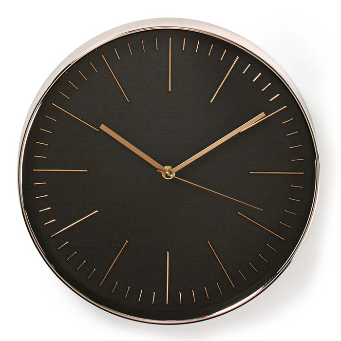 NEDIS CLWA013PC30BK Circular Wall Clock, 30 cm Diameter, Black & Rose Gold