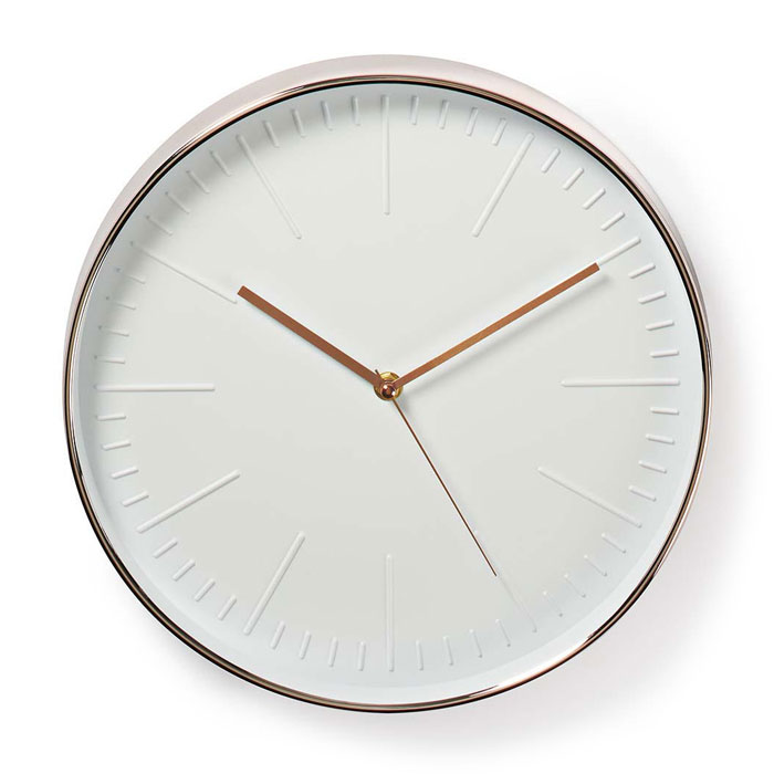 NEDIS CLWA013PC30RE Circular Wall Clock, 30 cm Diameter, White & Rose Gold