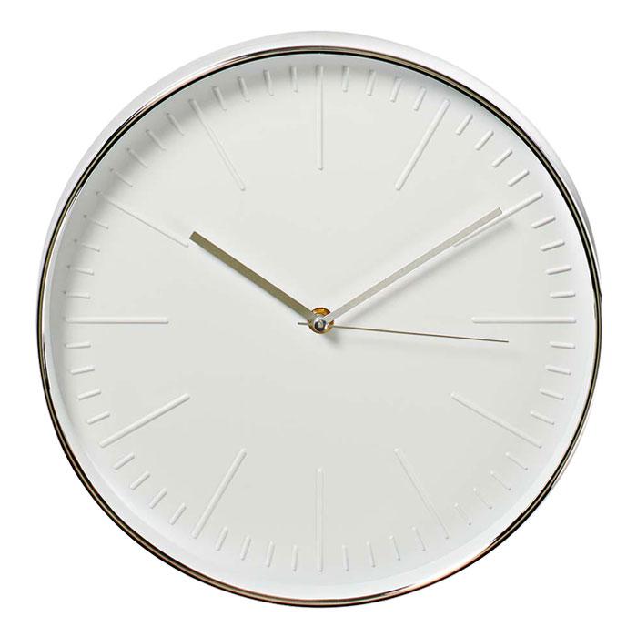 NEDIS CLWA013PC30SR Circular Wall Clock, 30 cm Diameter, White & Silver