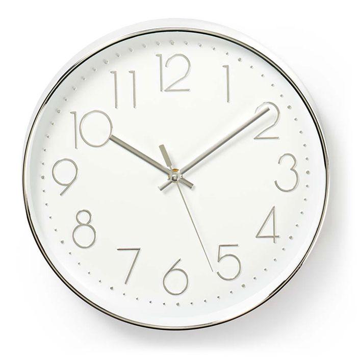 NEDIS CLWA015PC30SR Circular Wall Clock, 30 cm Diameter, White & Silver