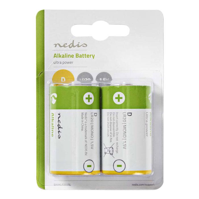 NEDIS BAAKLR202BL Alkaline Battery D, 1.5 V, 2 pieces, Blister