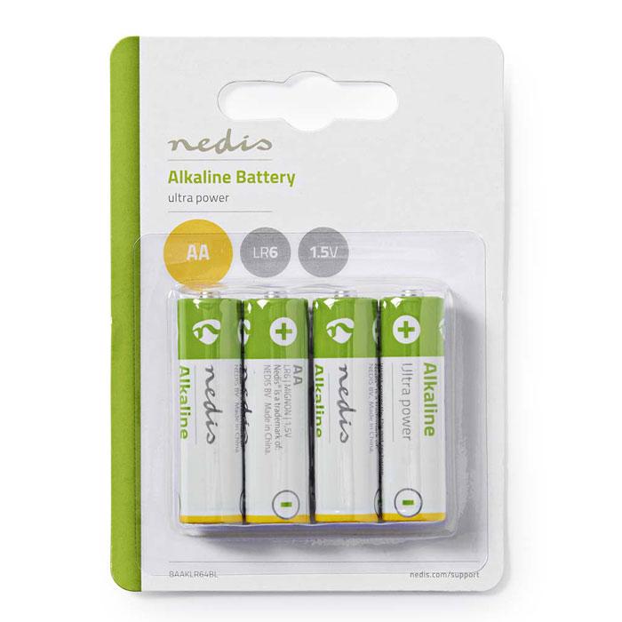 NEDIS BAAKLR64BL Alkaline Battery AA, 1.5 V, 4 pieces, Blister