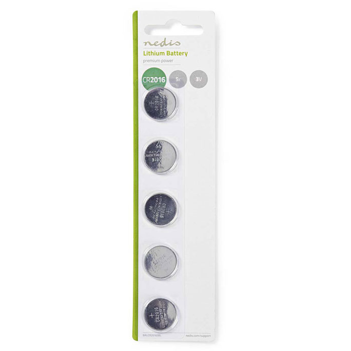 NEDIS BALCR20165BL Lithium Button Cell Battery CR2016, 3V, 5 pieces, Blister