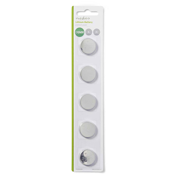 NEDIS BALCR24505BL Lithium Button Cell Battery CR2450, 3V, 5 pieces, Blister